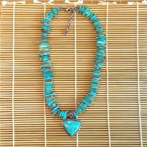 """Turquoise and Sterling Silver Necklace 17-19"""" long"""
